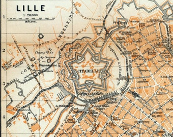 Antique Map of Lille, France - 1905 Vintage City Map - Old City Map