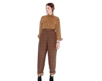 HURRY HALF OFF adorable plaid trousers rare plus size / plaid pants high waisted pants high waisted trousers Recycled wool trouser