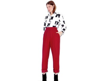 vintage CRANBERRY WOOL PANTS pendleton wool pants trousers size medium / super flattering skinny tapered fit high waisted pants fully lined