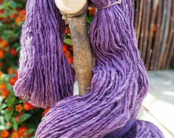 Hand Dyed and Hand Spun Variegated Purple Wool Yarn by Wildling Art
