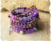 Bohemian Jewelry, Boho Layered Beaded Bracelet, Fairy Pixie Magic, Natural Purple Amethyst, BohoStyleMe, Kaye Kraus