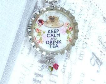 Keep Calm Necklace Tea Necklace Keep Calm And Drink Tea Bottle Cap Necklace Tea Jewelry Tea Gift