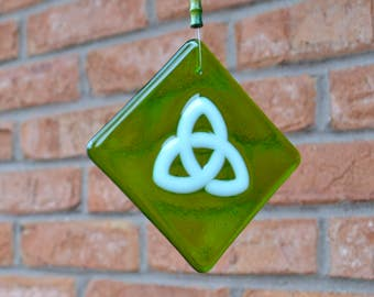 Celtic Knot  Fused Glass Suncatcher St Patrick's Day Irish