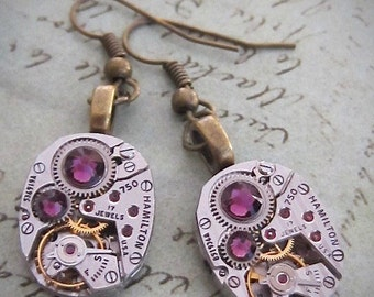 Steampunk ear gear - Amethyst - Steampunk Earrings - Repurposed art