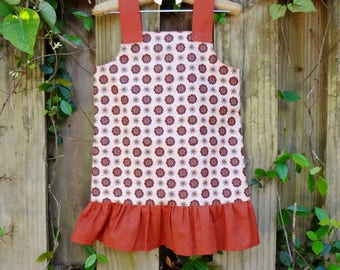 Child's Ruffled Sun Dress: Rust Red and Pale Pink Floral Print 4t