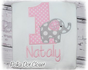 Baby girl Elephant Birthday bodysuit, First Birthday, pink and gray elephant, elephant outfit, cake smash