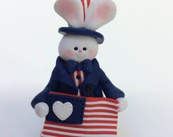 Americana Patriotic Bunny Rabbit July 4th Decoration by Helen's Clay Art