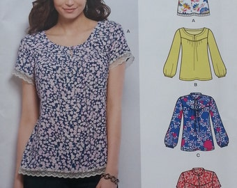 Misses Plus Size 10-22 Top Pattern Newlook 6395 Easy Long or Short Sleeve Casual Misses Casual Top Patter