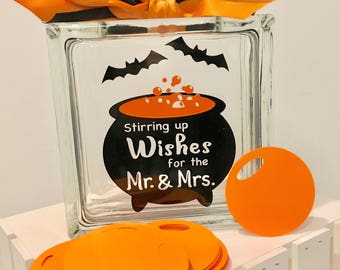 Halloween Wedding Guest Book Wish Jar ! Stirring up Wishes for the Mr & Mrs - Witches Caldron orange Bubbles - Black Bats