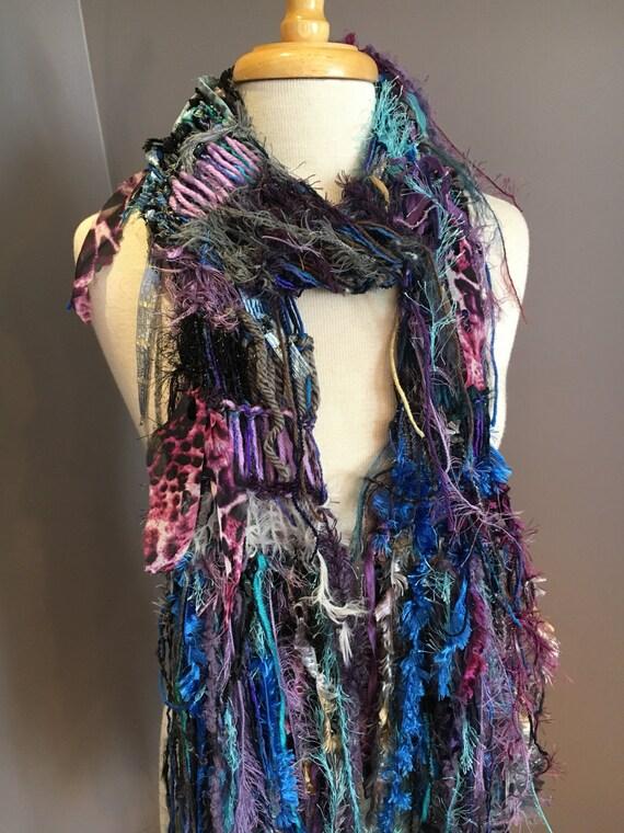 Knit Scarf, Original Dumpster Diva 'Cool jewel', Funky Lightweight Knit Scarf in Black, purple, gold, aqua, scarves wraps, boho chic, tribal