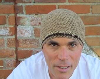 men's short summer beanie/ khaki cotton linen hemp blend crochet