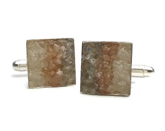 Mosaic Cuff Links - Moonstone, Golden Feldspar and Labradorite