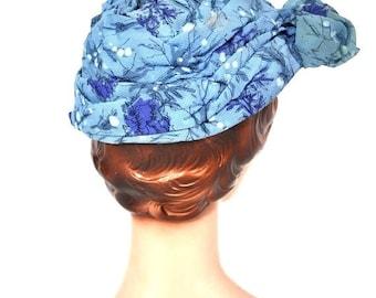 50% OFF SALE // 1950s turban hat | blue summer floral print beach sunbonnet cap | vintage 50s hat