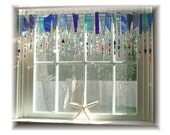 RESERVED FOR PAMELA three pieces of Blue Fringe Element Number One Stained Glass Window Treatment Valance