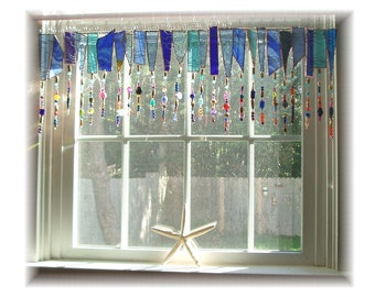 Blue FRINGE ELEMENT Number One Stained Glass Window Treatment Valance