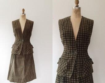 SALE / 40s corduroy sportswear / Mickey Miss two piece dress