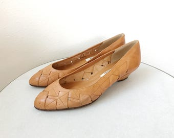 vintage leather wedges / woven leather / 80s Delia wedges