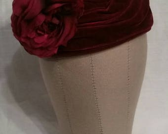 Beautiful red velvet, silk hat, shaped like a rose, fascinator