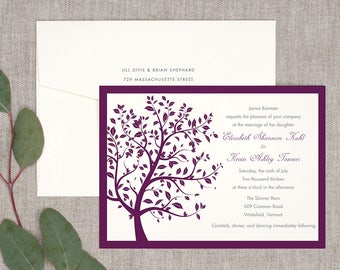 Summer Breeze Wedding Invitations - Classic Tree Whimsical Bold