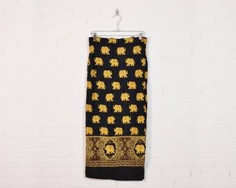 Vintage India Skirt India Wrap Skirt India Maxi Skirt Boho Skirt Hippie Skirt Ethnic Skirt Elephant Print Black 90s 70s S Small M Medium