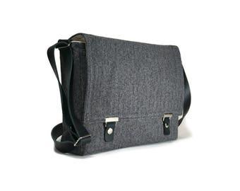 Ultimate Stash laptop messenger bag - gray herringbone