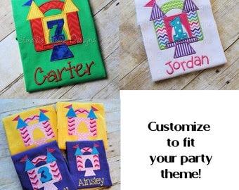 Bounce house birthday shirt. Boy birthday. Girl birthday. Change shirt, fabric and thread colors to match your theme!