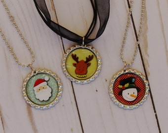 Christmas Necklace, Kids Christmas Gift, Santa Necklace, Snowman Necklace, Reindeer Necklace,Stocking Stuffers For Kids, Bottle Cap Necklace