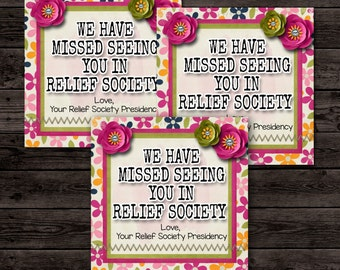 Relief Society Printable, LDS Relief Society Card, Miss You Card, Printable Card, Visiting Teaching- (6) 3x3 Cards- Instant download