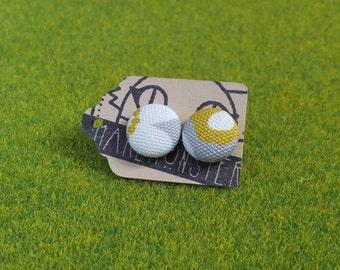 12mm fabric button stud earrings-- Modern Scandi flower motif-grey, mustard & white