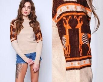 Vintage 70s Tan REINDEER Sweater NOVELTY Winter Sweater Pullover SKI Sweater Jumper