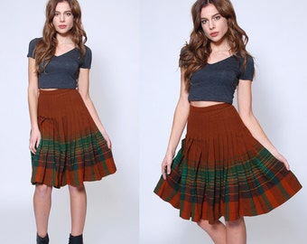 Vintage 50s PENDLETON Skirt PLEATED Plaid Mini Skirt Reversible WOOL Skater Skirt Mini Swing Skirt