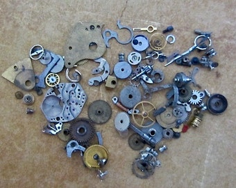 Vintage WATCH PARTS gears - Steampunk parts - K34 Listing is for all the watch parts seen in photos