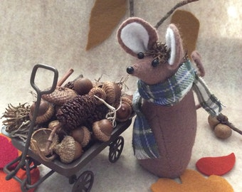 Felt Mouse with wagon of acorns  soft sculpture