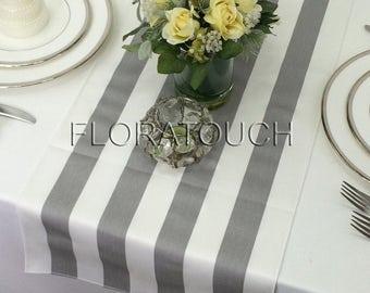 Gray Stripe Table Runner Gray and White Striped Wedding Table Runner with white stripes on the borders