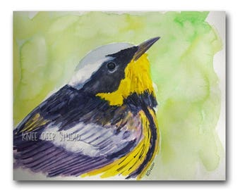 Warbler Watercolor Painting - Bird Wall Decor - Original Contemporary Fine Art - Spring Songbird - Yellow Green Decor - Bird Painting