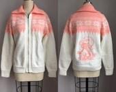 Vintage 1980s Hand Knit Smurfette Zip Up Cardigan Sweater Jacket Size Medium