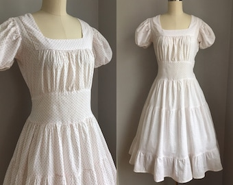 Vintage 1940s Cotton White with Red Polka Dots Full Skirt Dress Size Small