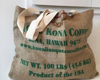 Hawaiian Queen Coffee burlap Tote/ Beach Bag/ Market Bag