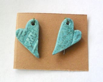 Turquoise Stoneware Glazed Kiln Fired Clay Heart Findings Pair