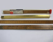 "Vintage lot of 4 rulers /  architect / mechanical engineers 12"" scale / K & E Co / Star Quality / Stanley / folding ruler / carpentry"