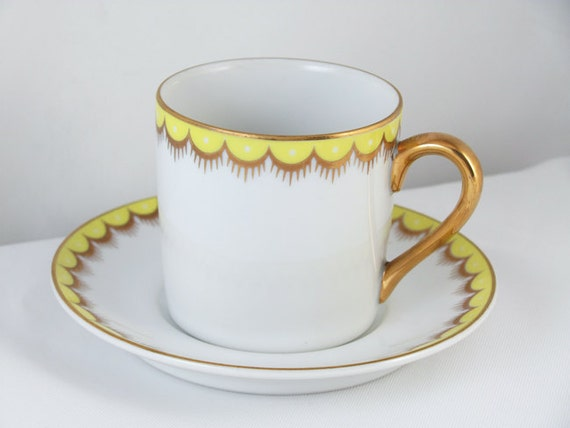 Vintage Fitz and Floyd white lemon yellow hand painted demitasse cup and saucer / porcelain / china / bone china / tea / coffee / espresso