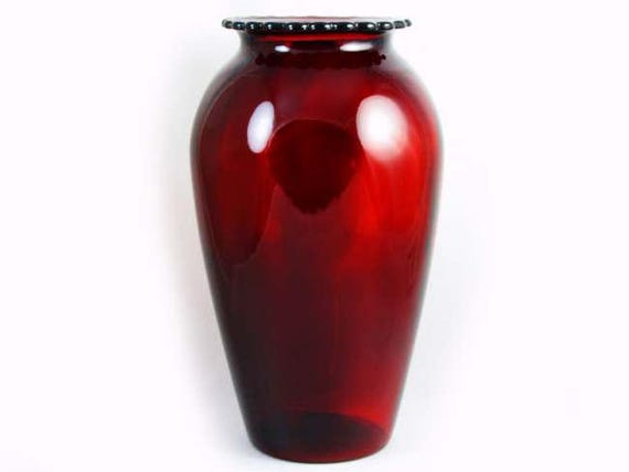 Vintage Art Deco mid century ruby red art glass crystal urn vase fluted rim