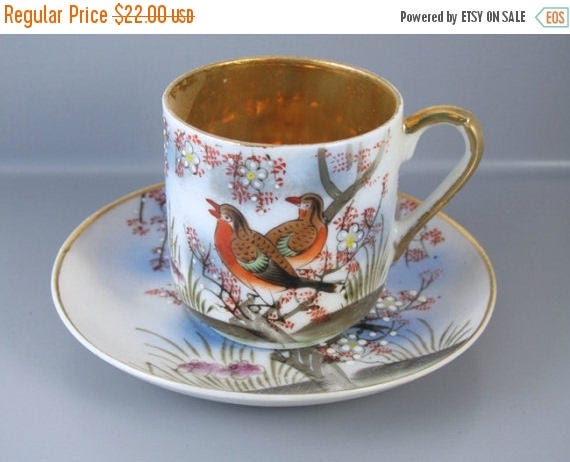 SPRING CLEANING SALE Vintage hand painted birds Samurai Japan demitasse cup and saucer / porcelain / china / bone china / tea / coffee