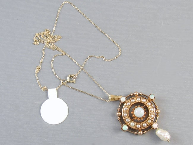Antique Edwardian 14k gold opal and seed pearl buttercup setting triple halo lavalier pendant necklace