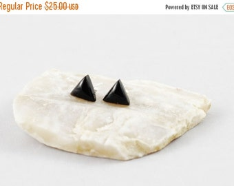 HOLIDAY SALE Black Onyx Gemstone . 8mm Domed Triangles . Sterling Silver Posts Studs Earrings . Jet Black . E16081