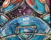 Original Blue Crab Miniature Art Painting by Lynnette Shelley