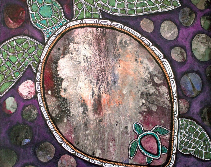Honu's Dream Sea Turtle Painting by Lynnette Shelley