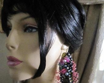 Shabby Lace Earrings, Bohemian girl, Long Earrings,   Gypsy, Shabby Chic, Tattered, Bohemian  Romantic.