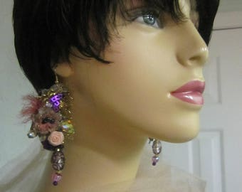 Art To Wear, Lightweight Earrings, Hand Beaded, Sequin, Bohemian , Romantic.