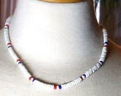 50% OFF White Puka Shell Necklace with Red and Blue Beads